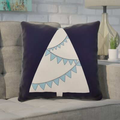 Christmas Tree Outdoor Throw Pillow Size: 18 H x 18 W, Color: Navy Blue