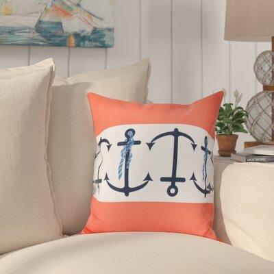 Hancock Anchor Stripe Print Outdoor Throw Pillow Size: 20 H x 20 W, Color: Orange
