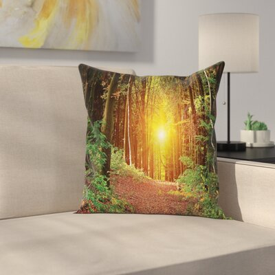 Forest Pathway to Timberland Square Pillow Cover Size: 18 x 18