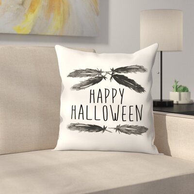 Jetty Printables Happy Halloween Feather Art Throw Pillow Size: 18 x 18