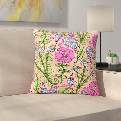 Sarah Oelerich Peach Floral Paisley Outdoor Throw Pillow Size: 18 H x 18 W x 5 D