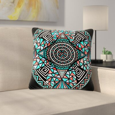 Pom Graphic Design Peacock Feathers Pattern Outdoor Throw Pillow Size: 16 H x 16 W x 5 D