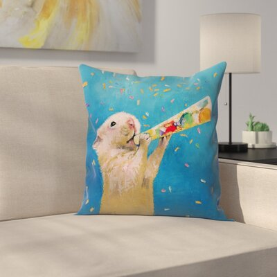 Michael Creese Happy Hamster New Year Throw Pillow Size: 18 x 18