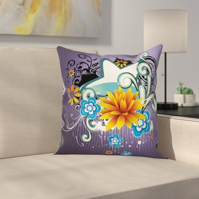 Floral Splash Pillow Cover Size: 16 x 16