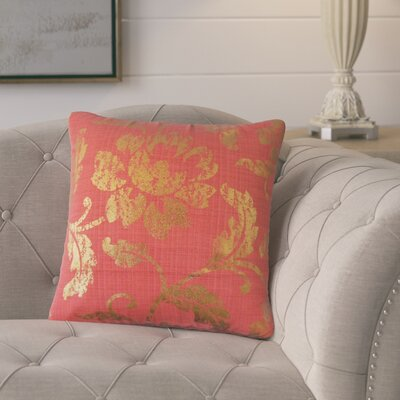 Bertrand Floral Throw Pillow Color: Red