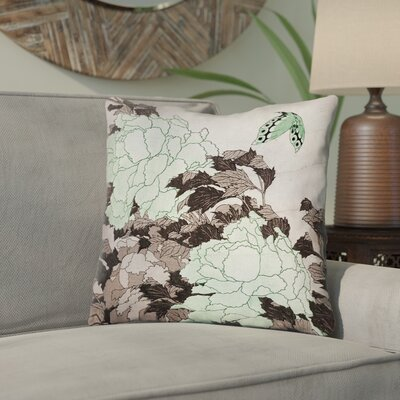 Clair Peonies with Butterfly Cotton Throw Pillow Color: Green, Size: 20 x 20