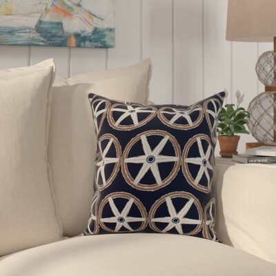 Crider Nautical Geo Lines Geometric Print Indoor/Outdoor Throw Pillow Color: Navy, Size: 16 x 16