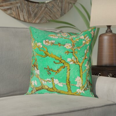 Lei Almond Blossom Throw Pillow Color: Green, Size: 18 x 18