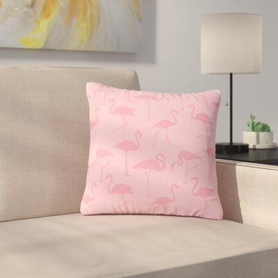 Illustration Wildlife Outdoor Throw Pillow Size: 18 H x 18 W x 5 D, Color: Pink