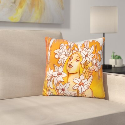 Mucha Lady Throw Pillow
