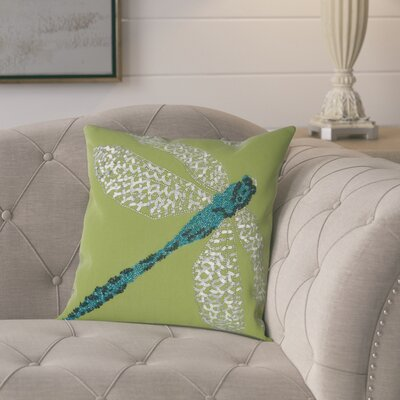 Telford Beaded Dragonfly Indoor/Outdoor Throw Pillow Color: Green/Blue