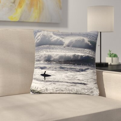 Nick Nareshni Lone Surfer Outdoor Throw Pillow Size: 16 H x 16 W x 5 D