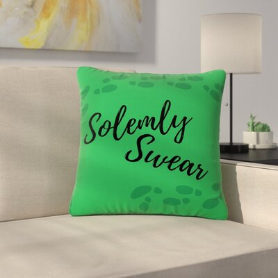 Jackie Rose Solemnly Swear Illustration Outdoor Throw Pillow Size: 18 H x 18 W x 5 D