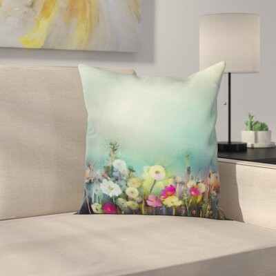 Floral Dandelion Daisy Poppy Square Pillow Cover Size: 20 x 20