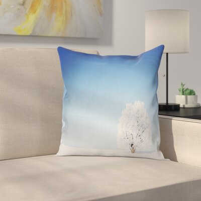 Alone Tree Snowy Field Square Pillow Cover Size: 20 x 20
