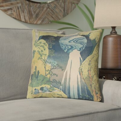 Rinan Japanese Waterfall Throw Pillow Size: 16 x 16
