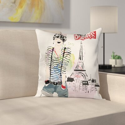 Eiffel Tower Decor Happiness Square Pillow Cover Size: 20 x 20