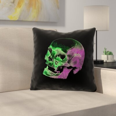 Waterproof Skull Throw Pillow Color: Green/Purple/Black, Size: 16 x 16