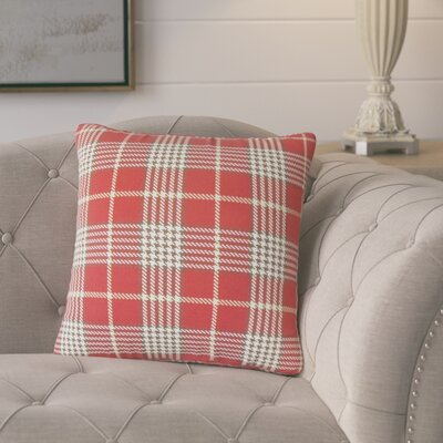 Tina Plaid Cotton Throw Pillow Color: Red