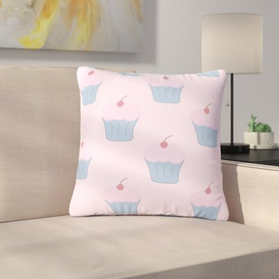 NL Designs Cupcakes Food Outdoor Throw Pillow Color: Pink, Size: 16