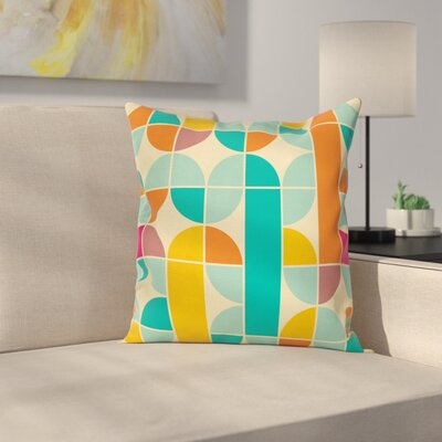 Retro Funky Artsy Mosaic Forms Square Pillow Cover Size: 20 x 20
