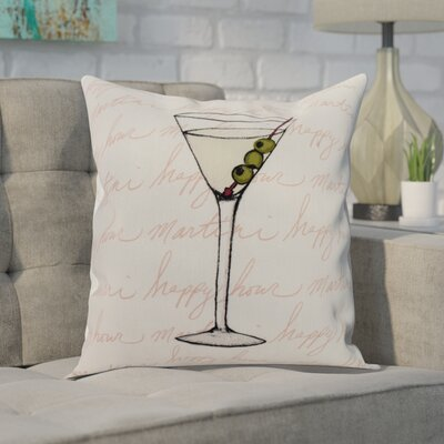 Crosswhite Martini Glass Text Fade Print Indoor/Outdoor Throw Pillow Color: Coral, Size: 18 x 18