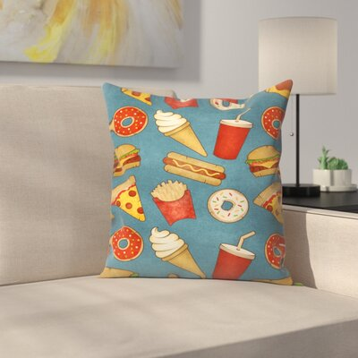 Fast Food Throw Pillow Size: 18 x 18