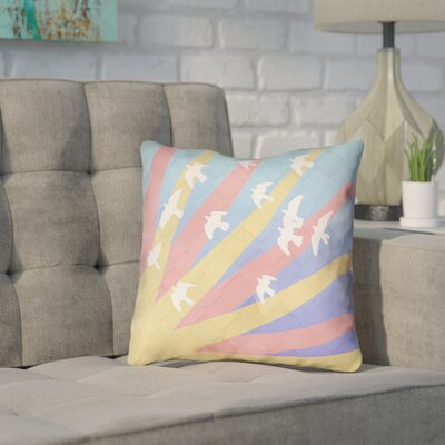 Enciso Modern Birds and Sun Throw Pillow Color: Blue/Yellow/Orange, Size: 20 H x 20 W