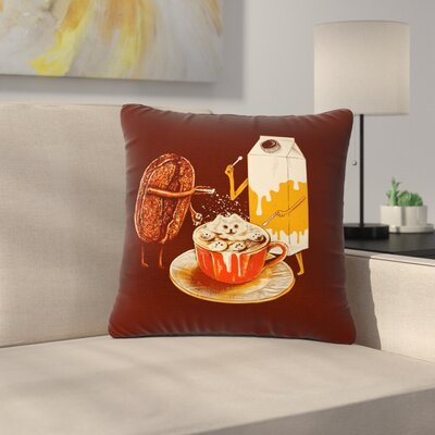 BarmalisiRTB Latte Art Illustration Outdoor Throw Pillow Size: 18 H x 18 W x 5 D