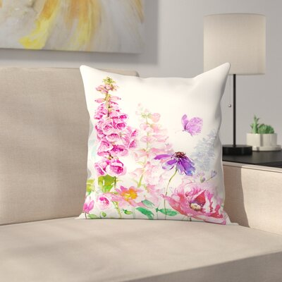 Foxglove Floral Throw Pillow Size: 18 x 18