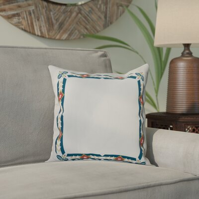 Willa Jodhpur Border Geometric Print Throw Pillow Size: 26 H x 26 W, Color: Teal