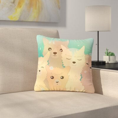 Graphic Tabby Alpacas in Snow Animals Outdoor Throw Pillow Size: 16 H x 16 W x 5 D