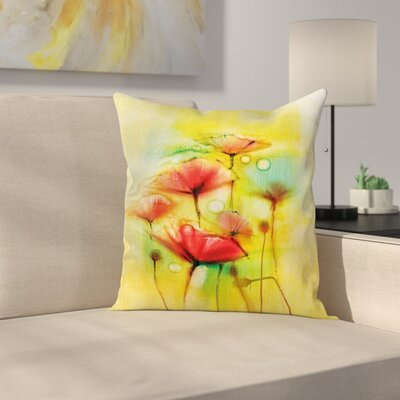 Poppy Flowers Blossom Square Pillow Cover Size: 16 x 16