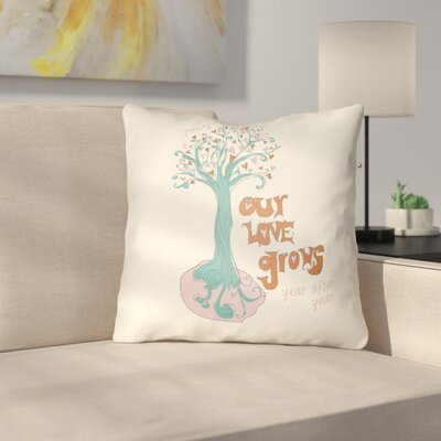 Cherlyn Love Tree Throw Pillow Size: 22 H �x 22 W x 5 D, Color: White