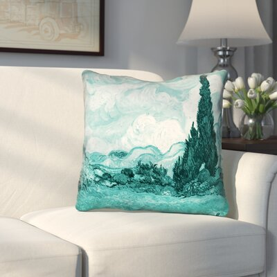 Woodlawn Teal Wheatfield with Cypresses Zipper Pillow Cover Size: 14 x 14