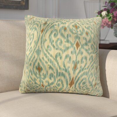 Arcelia Ikat Cotton Throw Pillow Color: Green