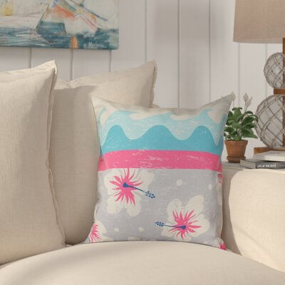 Golden Beach Floral Outdoor Throw Pillow Size: 18 H x 18 W, Color: Pink
