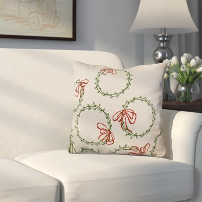 Holiday Simple Wreath Throw Pillow Size: 16 H x 16 W, Color: Green