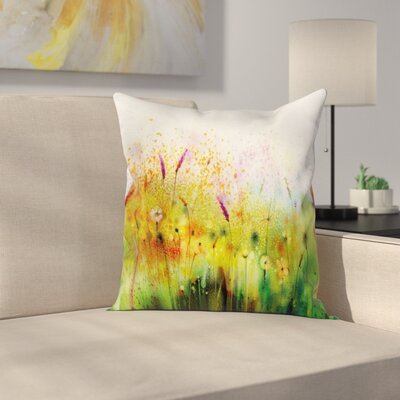 Violet Garden Flower Square Pillow Cover Size: 24 x 24
