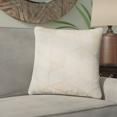 Graham Mosaik Leather Throw Pillow Color: Beige