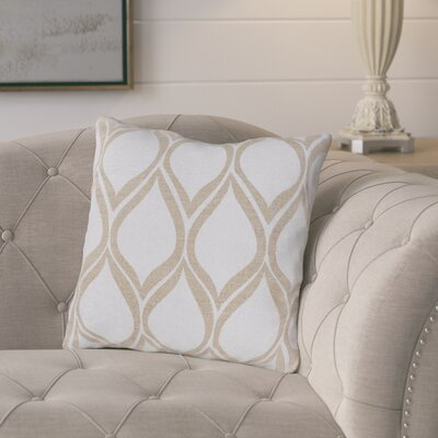 Eglantine Pale Linen Throw Pillow Size: 22 H x 22 W x 4 D, Color: Light Gray / Beige, Filler: Down