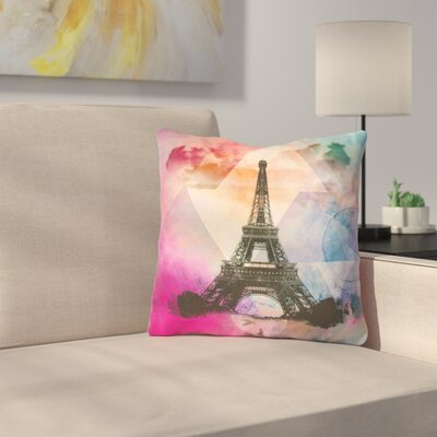 Eiffel Tower by Alyzen Moonshadow Throw Pillow Size: 16 x 16, Color: Deep Pink