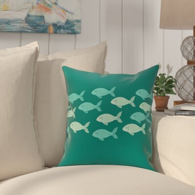 Golden Lakes Fish Line Coastal Outdoor Throw Pillow Size: 18 H x 18 W, Color: Teal
