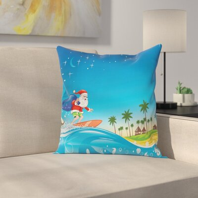 Christmas Surfing Santa Beach Square Pillow Cover Size: 16 x 16