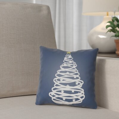 Winter Tree Outdoor Throw Pillow Size: 18 H x 18 W x 4 D, Color: Blue / White / Yellow