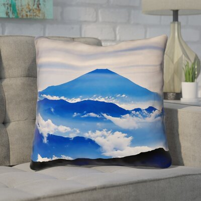 Enciso Fuji Throw pillow Size: 14 H x 14 W, Color: Blue