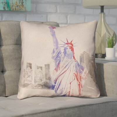 Houck Watercolor Statue of Liberty Square Zipper Throw Pillow Size: 14 H x 14 W