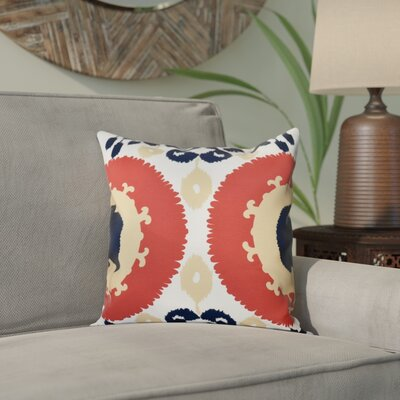 Meetinghouse Boho Geometric Print Throw Pillow Size: 18 H x 18 W, Color: Coral