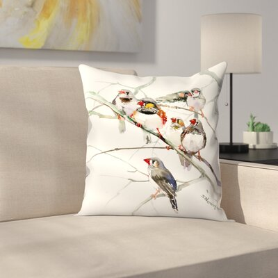 Suren Nersisyan Zebrafinches Throw Pillow Size: 20 x 20