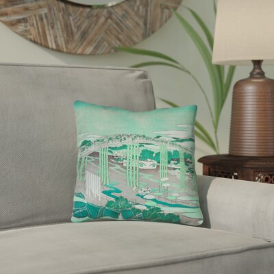 Clair Japanese Bridge Throw Pillow Color: Green, Size: 20 x 20